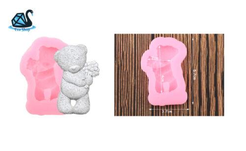 SILICONE FORMA ORSO CON FIORE GESSO personaggio epossidica resina silicone stampo 3d candele sapone