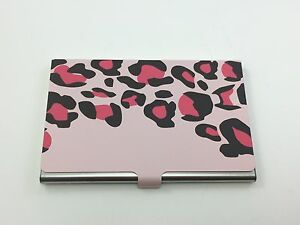 Business Card Carrying Case Stainless Steel Leopard Pink Ebay