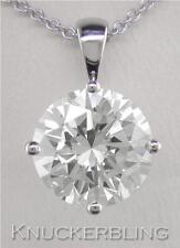 Diamond Solitaire Pendant: 3.00ct Certified D IF Round Brilliant Cut in Platinum