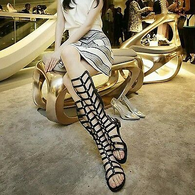 Women Ladies Gladiator Cut Out Sandals High Boots Flat Knee Strappy Summer Shoes