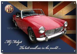 MG MIDGET METAL SIGNCLASSIC BRITISH MG CARSGARAGEMG SPORTS CARS - Sports cars garage
