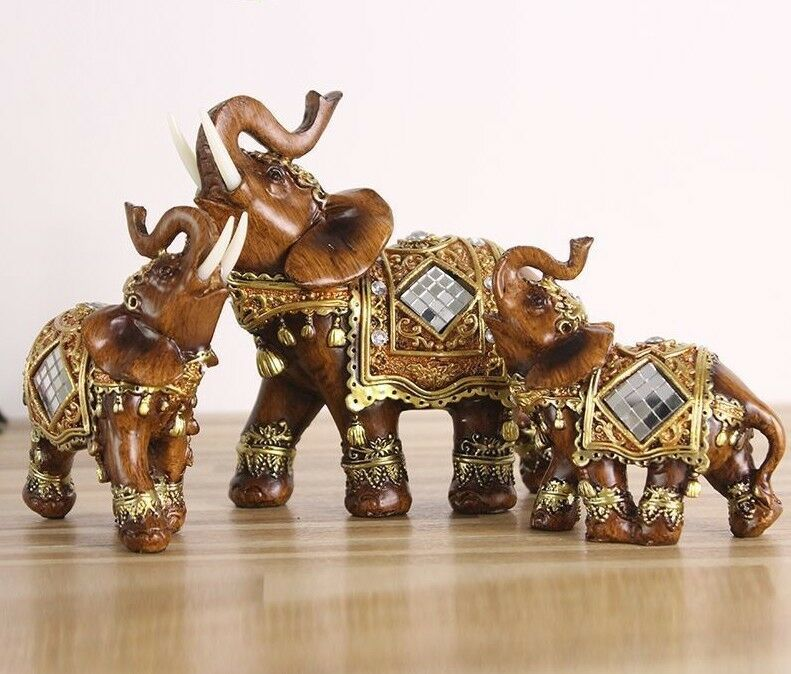 Home Decoration Figurines Miniatures Elephant Statues Accessories Holiday Gifts