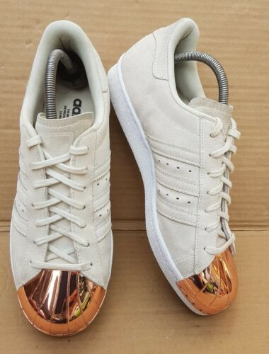 rosa scamosciata 80's 7 Adidas in Trainers punta pelle oro taglia Uk in in metallo con Superstar in Beige g5nzY1an