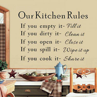 New Our Kitchen Rules Cook Words Quote Wall Stickers Vinyl Art Decals Home Decor
