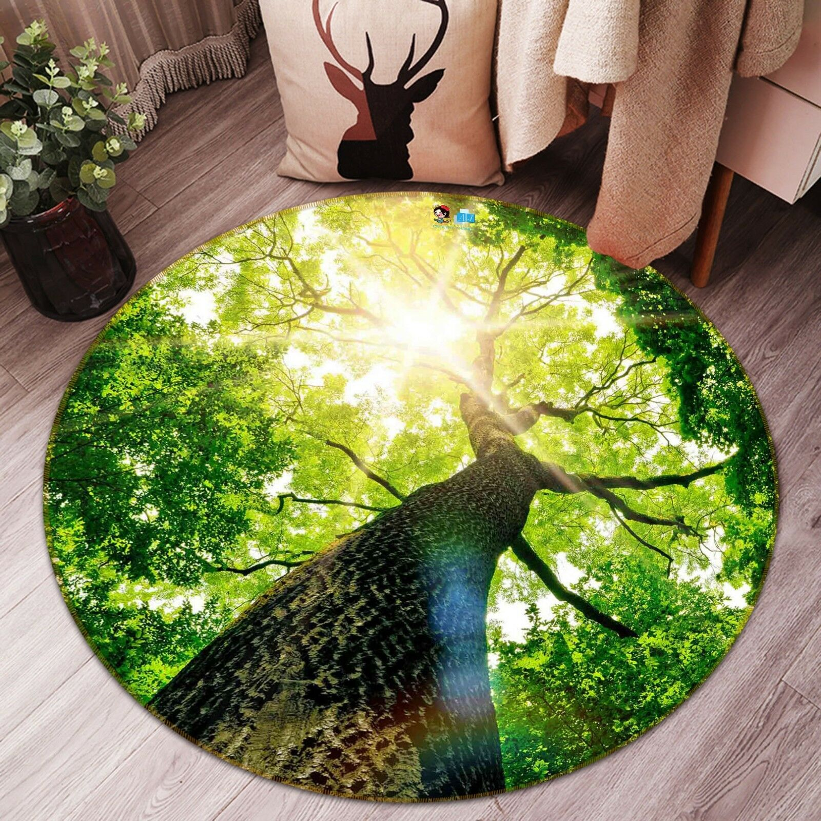 3D Sunshine Tree 44 Non Slip Rug Mat Mat Mat Room Mat Round Elegant Photo Carpet AU 5e532b