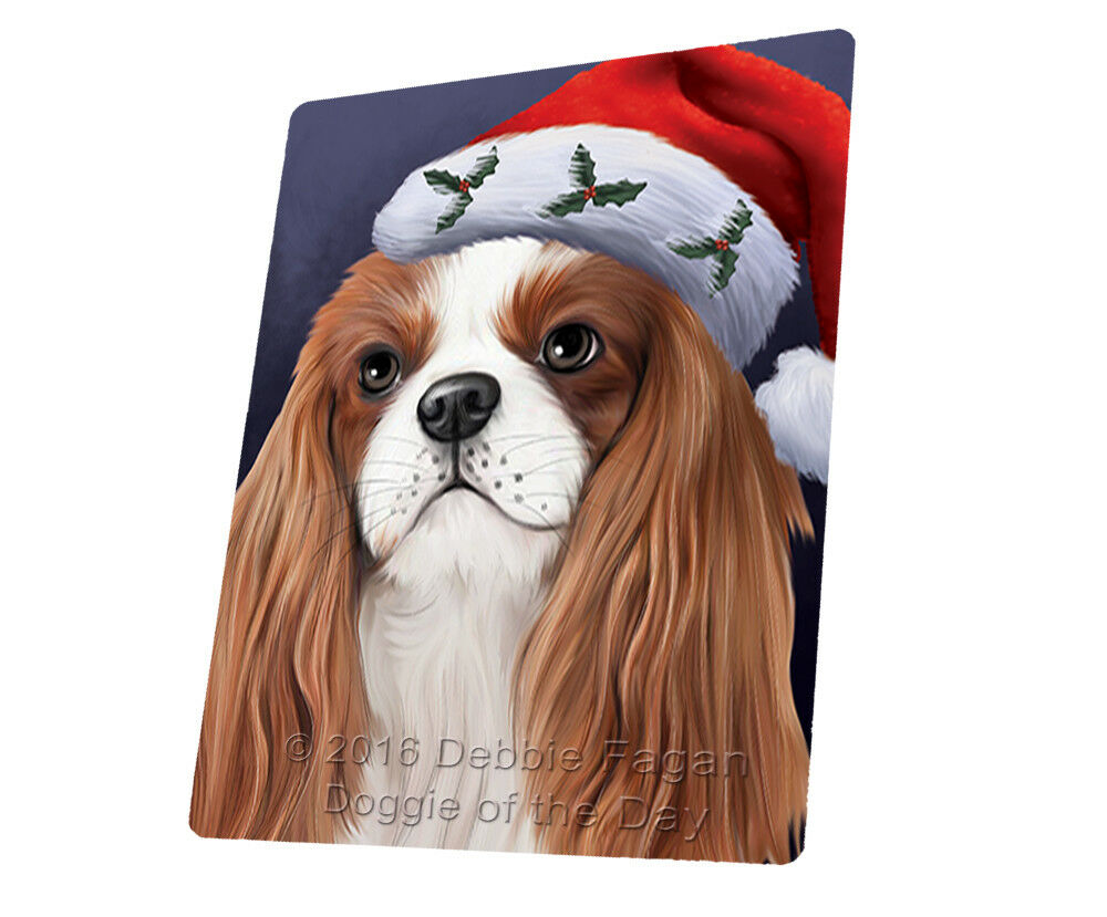 Christmas Cavalier King Charles Spaniel Dog Woven Throw Sherpa Blanket T432