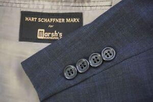 Hart-Schaffner-Marx-Gray-Blue-Plaid-2-Piece-Suit-Jacket-Pants-Sz-42R-Made-USA