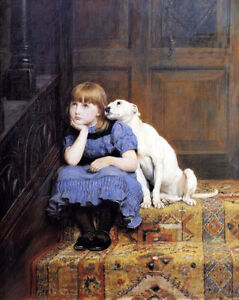 Oil-painting-Briton-Riviere-Sympathy-little-girl-with-her-dog-free-shipping-AA