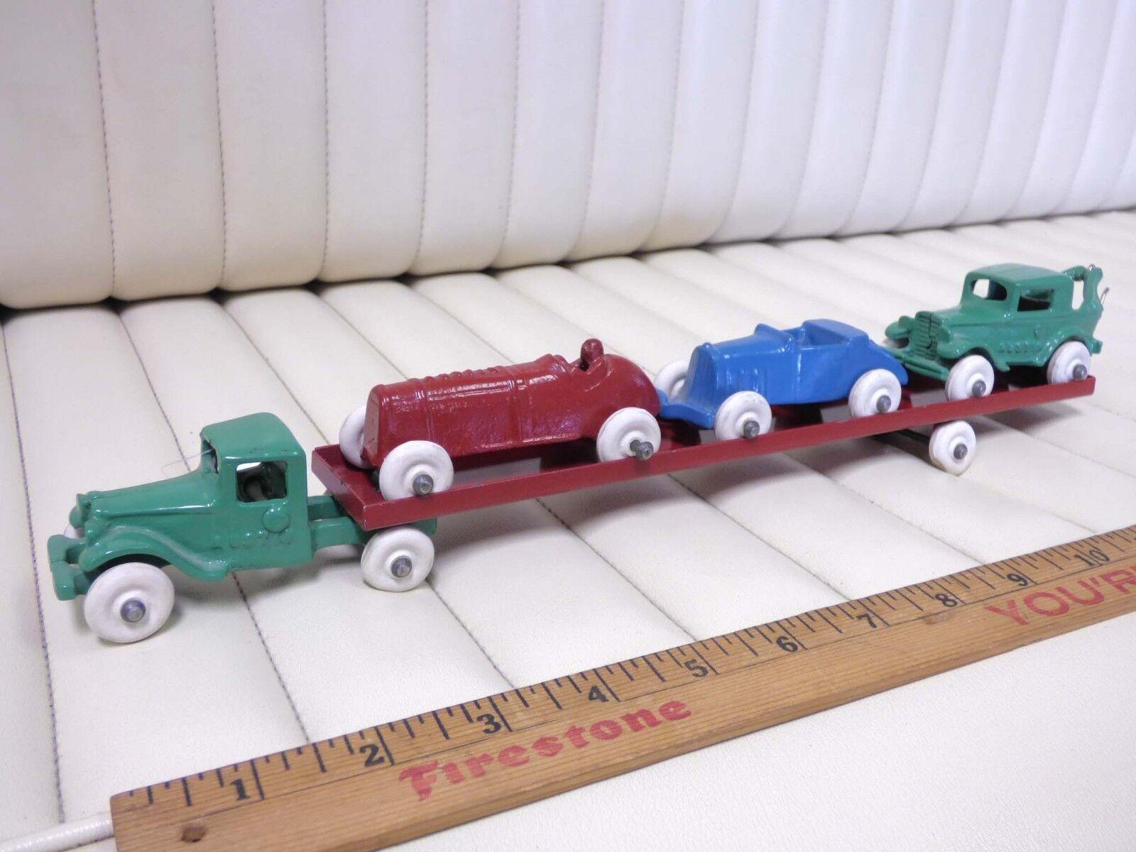 1931 -34 ARCADE (-AUSTIN bil Tjärnväger Transport set w   3 bilS Cast Iron leksak)