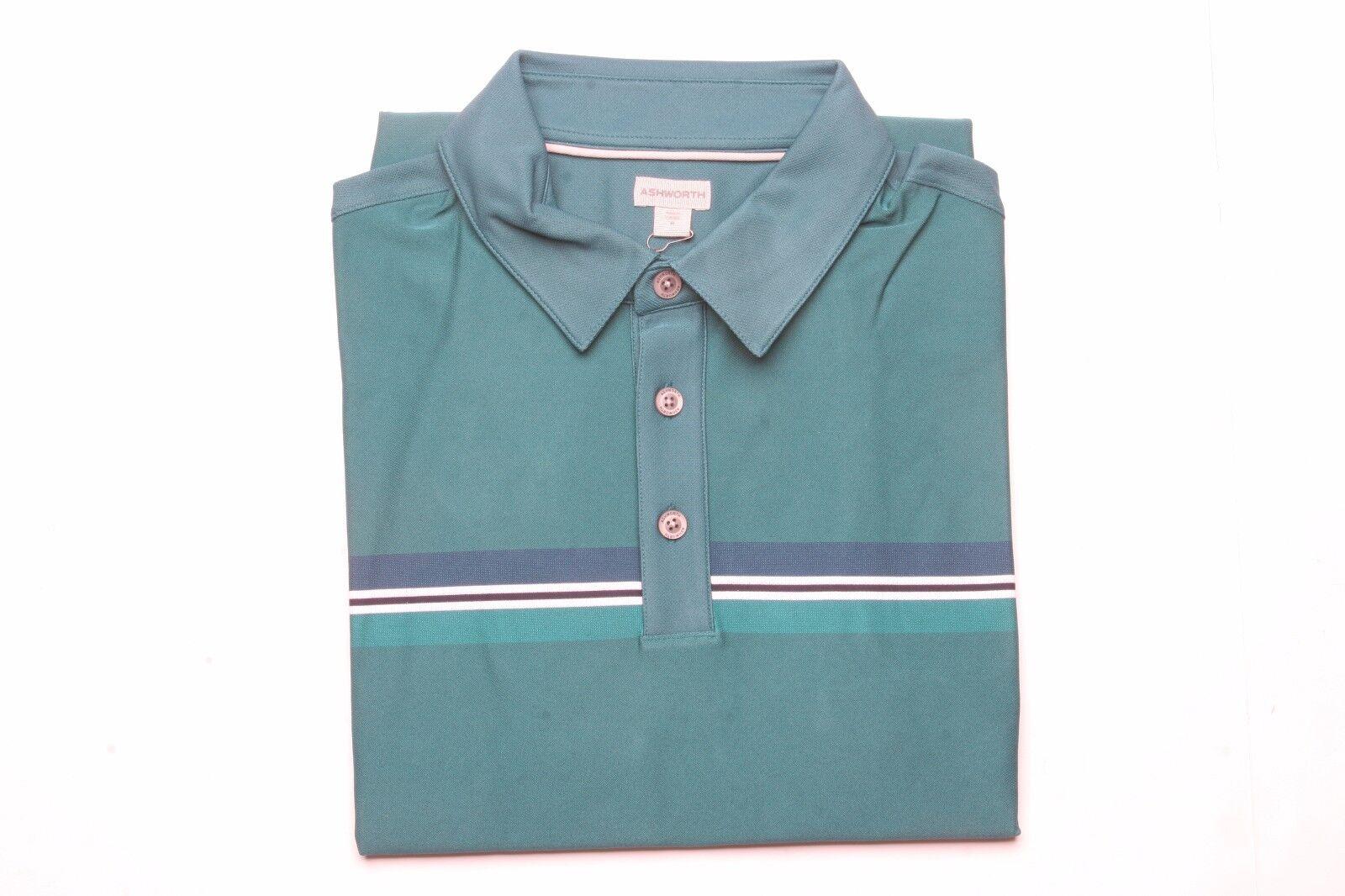 Ashworth Striped Short Sleeve Polo Shirt (M) AE9526 Mariner