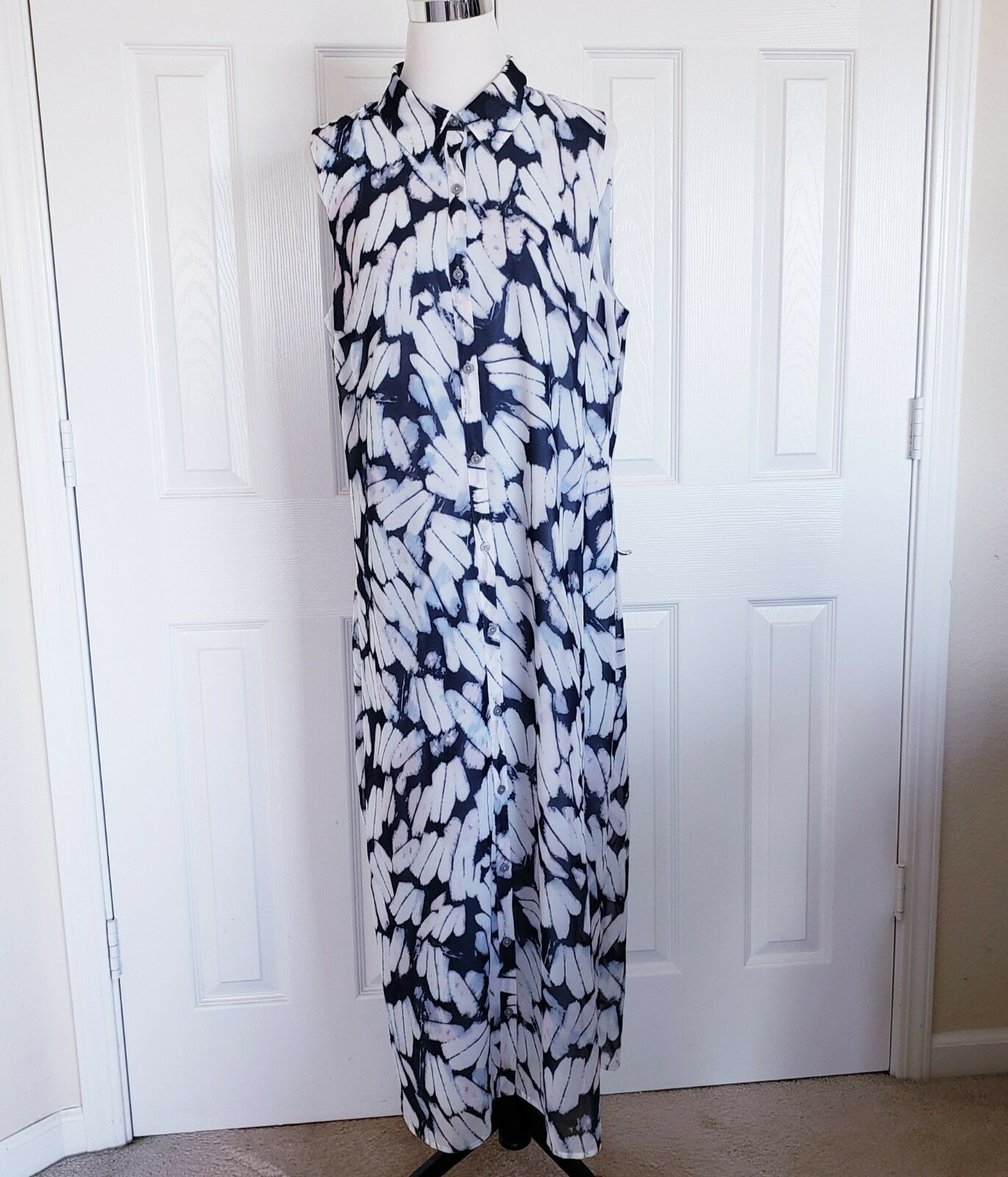 Cabi Woherren Sz L Button Down Sleeveless Shirt Collar Maxi Dress Geometric Print