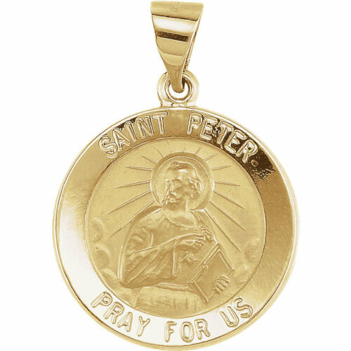 Hollow St Peter Medal In 14K Yellow Gold