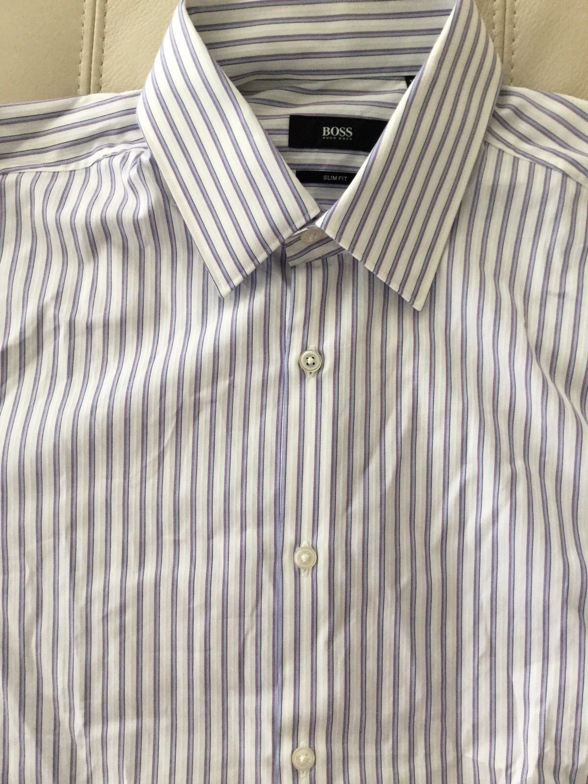 12d14291 New BOSS Hugo Boss Men's Men's Men's Slim Fit Stripe Dress Shirt size 15 1  2 R 3e1cbc