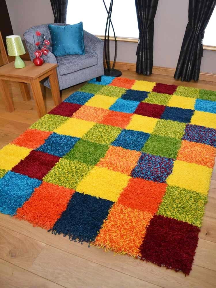Details About Thick Bright Modern Shaggy Small Large Orange Blue Green Yellow Floor Rugs Mats