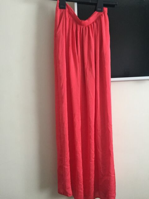 Coral Silky Maxi Summer Skirt Size 8