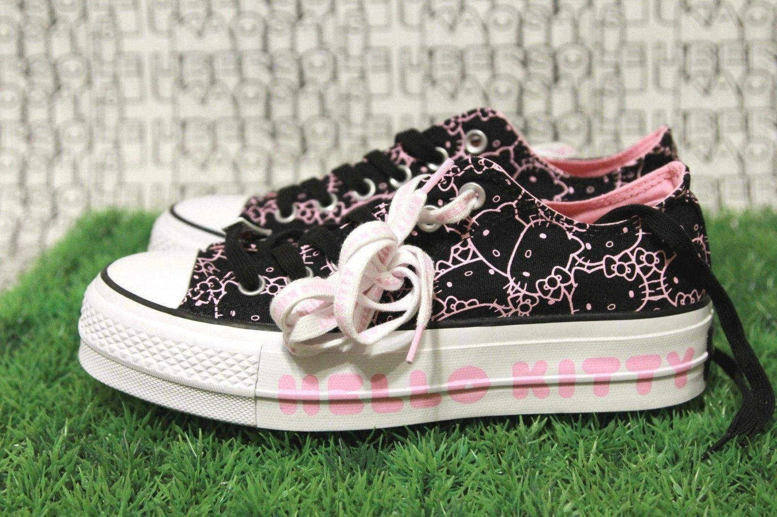 Converse Hello Kitty PLATFORM scarpe one one one star ox all nero lift ctas clean donna 7 6e0933