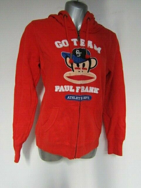 Paul Frank Full Zip Hoodie Size Small S 8 Long Sleeve Jumper Red Go Team Sweater