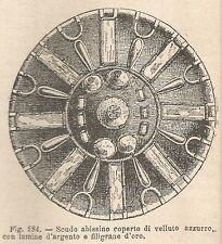 A2545 Scudo abissino - Xilografia - Stampa Antica del 1895 - Engraving