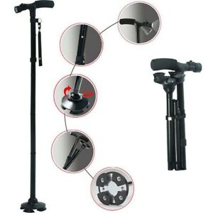Magic-Cane-Folding-LED-Safety-Walking-Stick-4-Head-Pivoting-Trusty-Base-Black