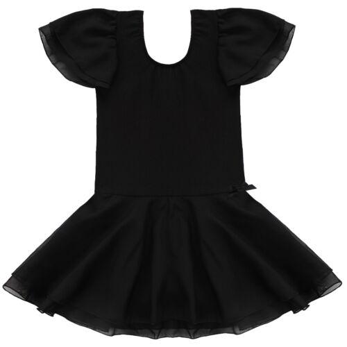 Girls Ballet Dance Dress Kids Gymnastics Cap Sleeve Leotard Tutu Skirt Dancewear