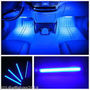 4in1 blue super bright car interior footwell decor atmosphere led neon light bar ebay. Black Bedroom Furniture Sets. Home Design Ideas