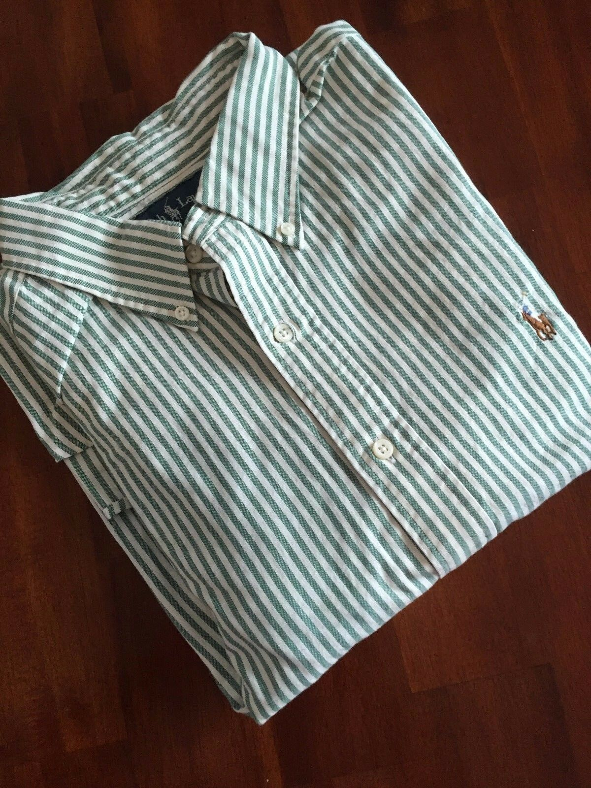 POLO RALPH LAUREN  OXFORD GREEN STRIPE SHIRT ( EXTRA LARGE)   98