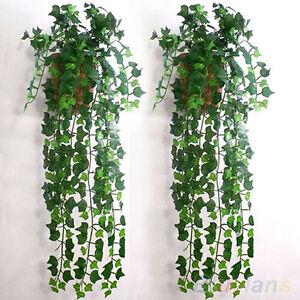 Accueil-feuillage-vert-lierre-feuille-Fleur-artificielle-fleur-guirlande-decor-B