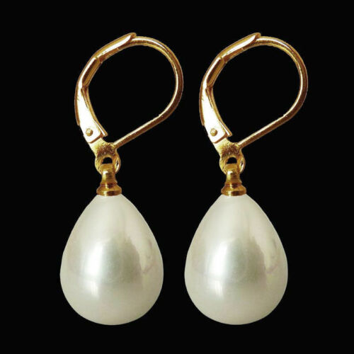 Fashion 12x16mm White Shell Pearl Drop Dangle 14K or plaqué Or Crochet Boucles D/'oreilles AAA