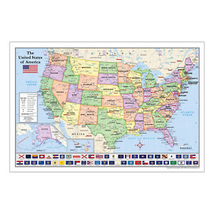 United States Usa Map With State Flags For Kids 36 X 24