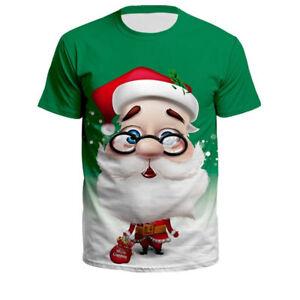 520b2bc0f4 Women Men Christmas Santa Claus With Glasses Funny Print 3D T-Shirt ...