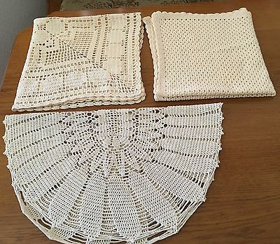 Beige stunning handmade crochet doilies 27 High quality  Egyptian cotton.