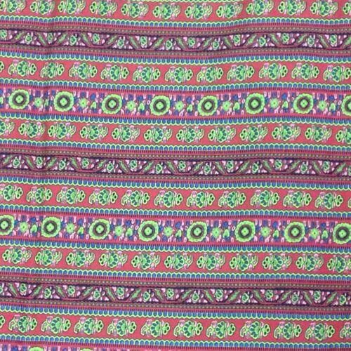 Vintage Cotton Fabric Burgundy Floral Stripe PreShrunk Print Quilting Sewing 80s