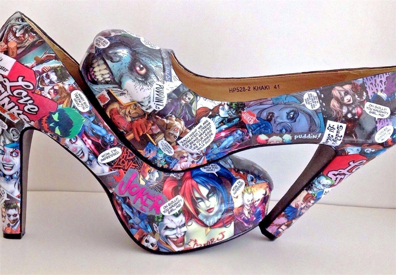 Harley Quinn & Joker 3-8 Customised Decoupage Schuhes.Geek.Cosplay.Größes UK 3-8 Joker 64ed77