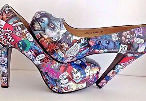 a7562fda1dfd Image is loading Harley-Quinn-amp-Joker-Customised-Decoupage-Shoes-Geek-