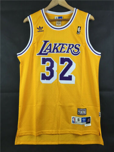 Retro Earvin Johnson #32 Los Angeles Lakers Basketball Jersey Stitched Yellow