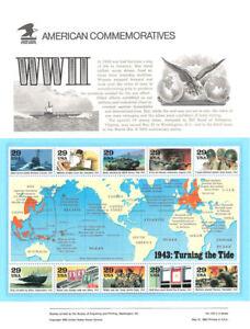 #418 29c 1943 World War II MS10 #2765 USPS Commemorative Stamp Panel