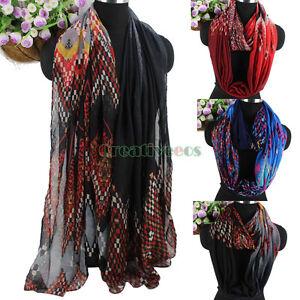 Fashion-Women-Colorful-Geometric-amp-Zig-Zag-Chevron-Long-Shawl-Infinity-Loop-Scarf
