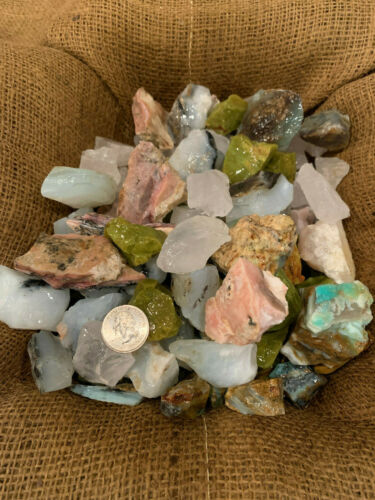 Green, Blue, Pink, Clear Rough FREE Faceted Gem 1000 Carat Lot of Mixed Opal