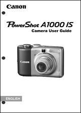 Canon Powershot A1000 IS Digital Camera User Guide Instruction  Manual