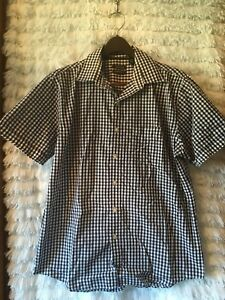 a8850115ffa Details about Men s Van Heusen Navy Blue White Checked Shirt Short Sleeve  Sz L 16-16 1 2