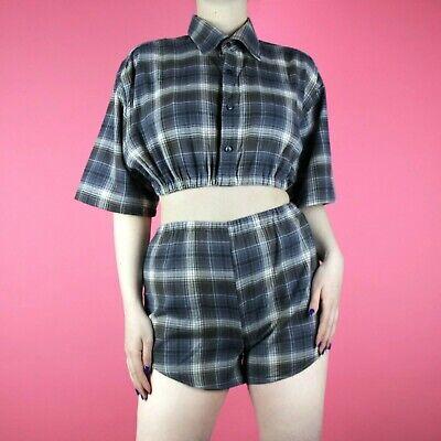 2019 Moda Vintage, Motivo Check Blu Navy 90s Grunge Ritagliare Due Pezzi Shirt Shorts Xs 6 8-mostra Il Titolo Originale