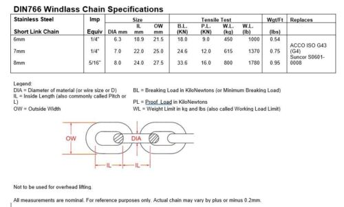 """6.3mm Stainless Steel 316 Chain 1//4/"""" Short Link Chain by the foot"""