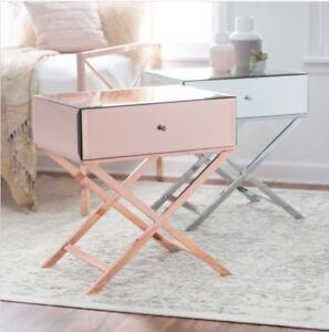 Details About Small Metal Nightstand Low Mirrored Slim Accent Table End Side Storage Rose Gold