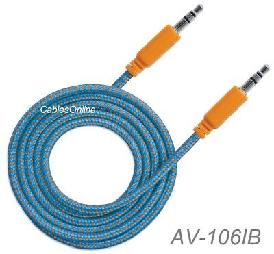 6ft 3.5mm Stereo TRS Male to Male Braided Audio Cable Blue//Orange 352819