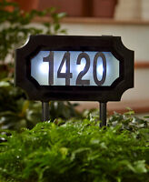 Solar Lighted Address Sign Stake Plaque House Number Marker Led Dusk To Dawn