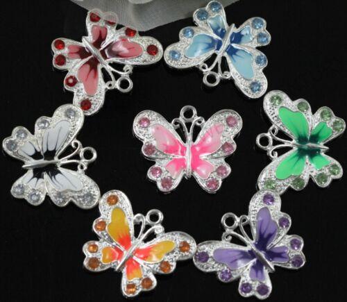 5//10Pcs multicolore émail Animal Papillon Pendentif Charms Pour Collier 21.5 mm