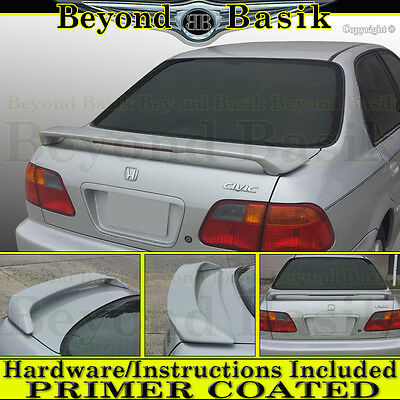 Fits 1996-1998 Honda Civic 4 Door Only Custom Spoiler Wing Primer With Light