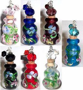 7pc-Murano-art-glass-flower-essential-oils-bottle-pendants-for-jewelry-making