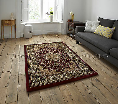 SMALL - X EXTRA LARGE RED TRADITIONAL CLASSIC THICK DENSE LUXURY WOOL-LOOK RUGS