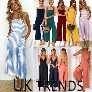 UK-Womens-Sleeveless-Striped-Wide-Leg-Strappy-Jumpsuits-Playsuits-Culotte-6-14